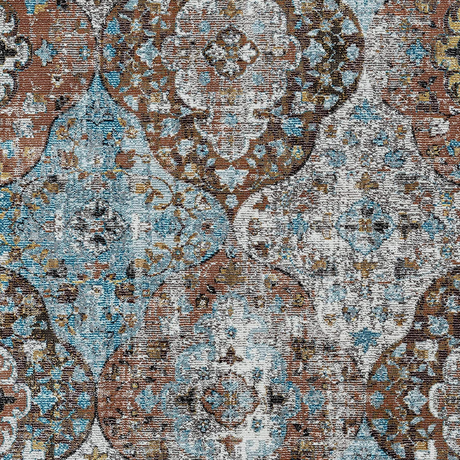 MISC Bright Area Rug 5' X 8' Blue Oriental Cotton Jute Polypropylene Contains Latex