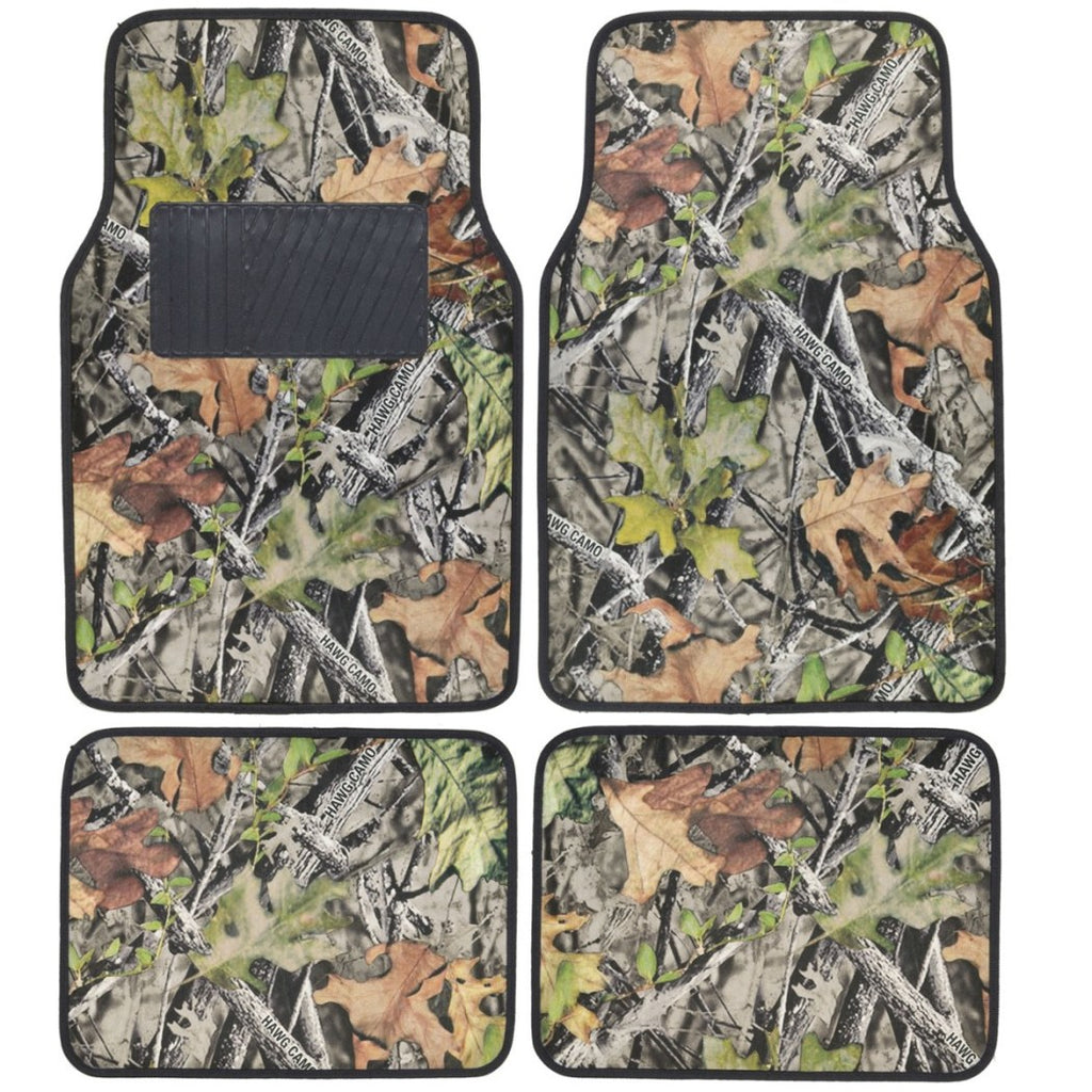 4 piece Camouflage Car Floor Mats Set Universal Fit Camo Pattern Green Brown Trees Leaves Forest Hunting Themed Pads - Diamond Home USA