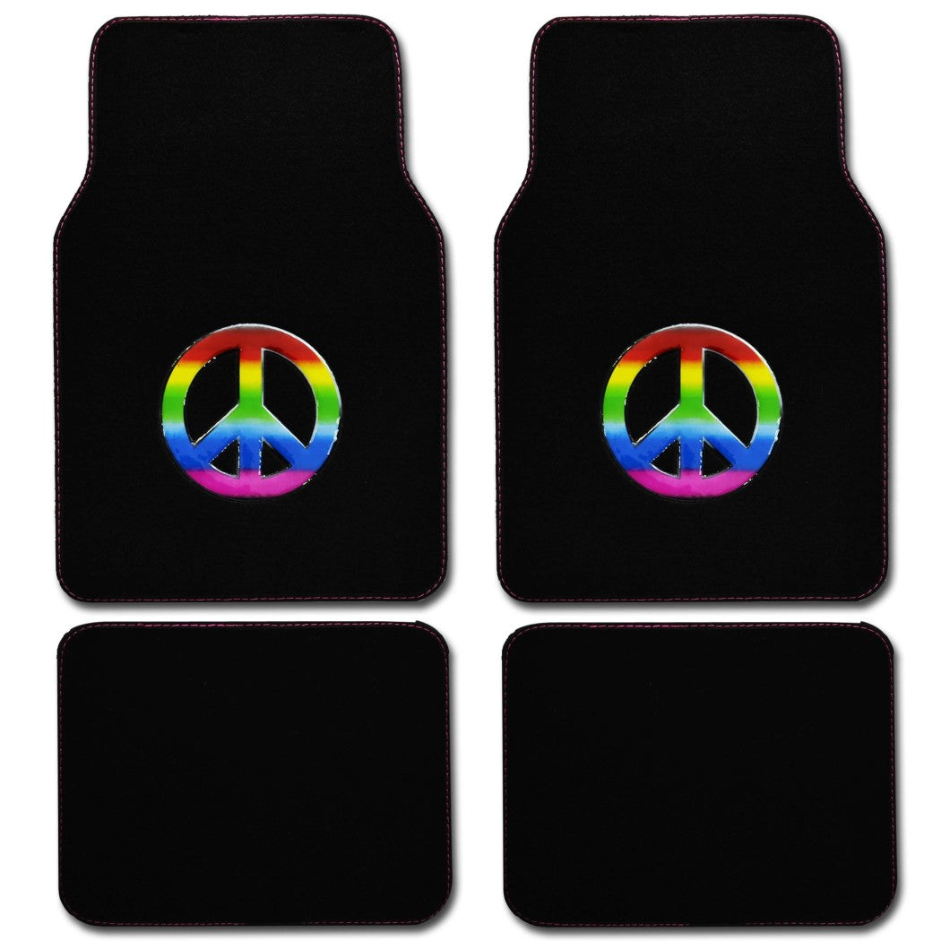 4 piece Car Floor Mats Peace Sign Bohemian Hippie Rainbow Colors Free Spirit Design Universal Fit 2x Front Mats 2x Rear Mats - Diamond Home USA