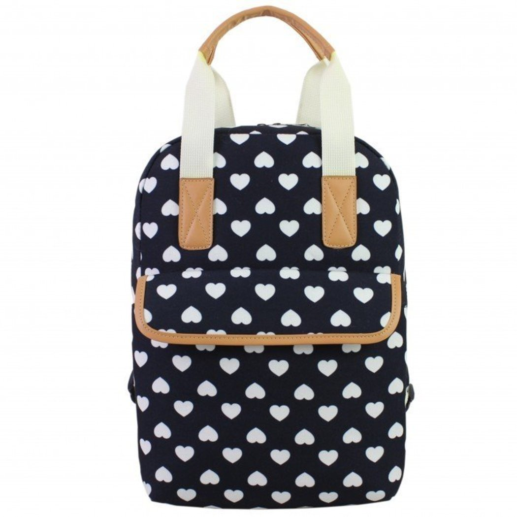 Girls Cute White Heart Navy Blue Backpack Tan Trim Love Hearts Themed - Diamond Home USA