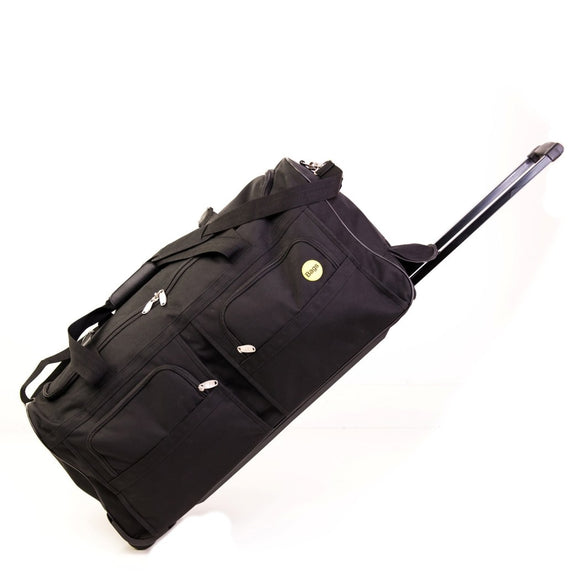 Black Wheeled Duffle Bag Women 29 inch Adjustable Strap Lined Skate Wheels Push Button Extension Handle Solid Patter Polyester Exterior Interior - Diamond Home USA