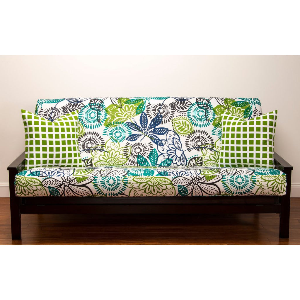Floral Themed Futon Cover Bohemian Flowers Pattern Adorable Colorful Nature Bedding Abstract Blue Green - Diamond Home USA