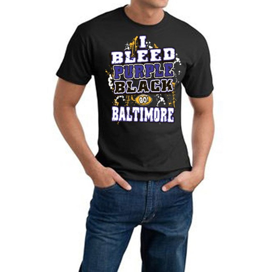 Mens NFL Ravens T Shirt Extra Large Double Football Sports Tee Football Themed Clothing I Bleed Slogan Team