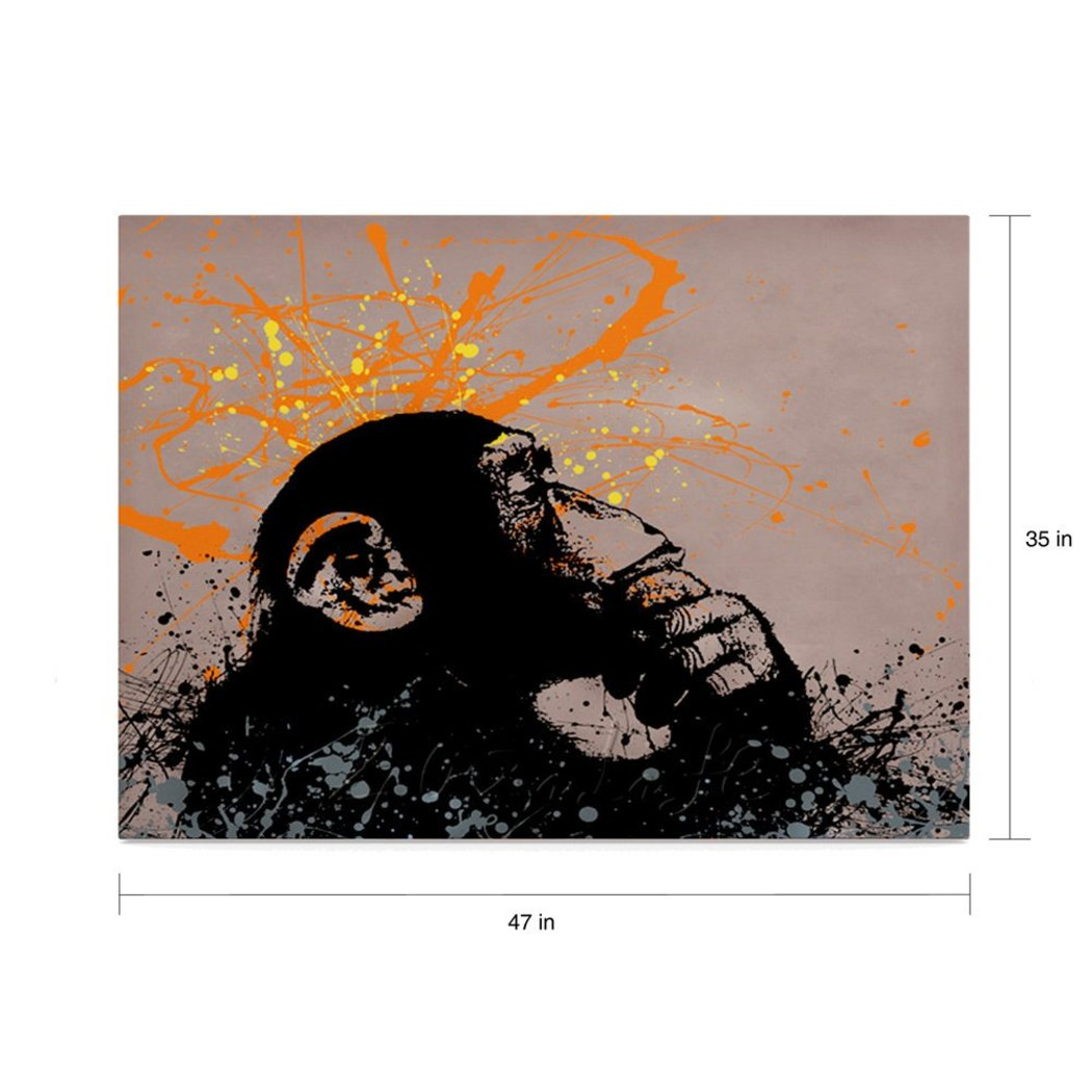 Monkey Pattern Wall Art Rectangle Graffiti Themed Painting Geometric Abstract Wood Plaque Thinking Monkie Thinker