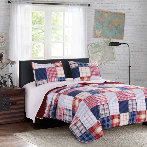 Patchwork Themed Quilt Set Nautical Plaid Checkered Stripes Teen Themed Kids Bedding Bedroom Fancy Traditional Cotton Polyester