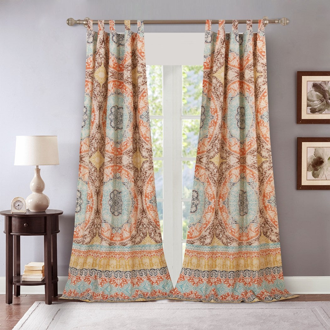 Turquoise Indigo Bohemian Window Curtain Set 84 Inch Brown Medallion Drapes Damask Floral Tribal Contemporary Window Drapery Eclectic - Diamond Home USA