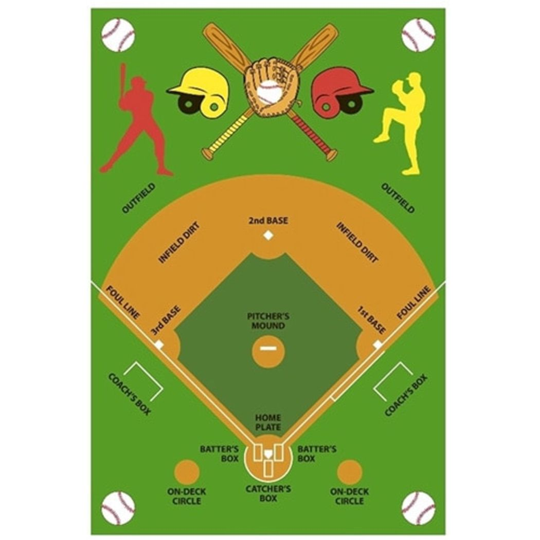 "3'3""x4'8"" Boys Green Brown Baseball Bats Players Helmets Gloves Field Printed Accent Rug Indoor Graphical Pattern Playroom Rectangle Carpet Sports - Diamond Home USA"