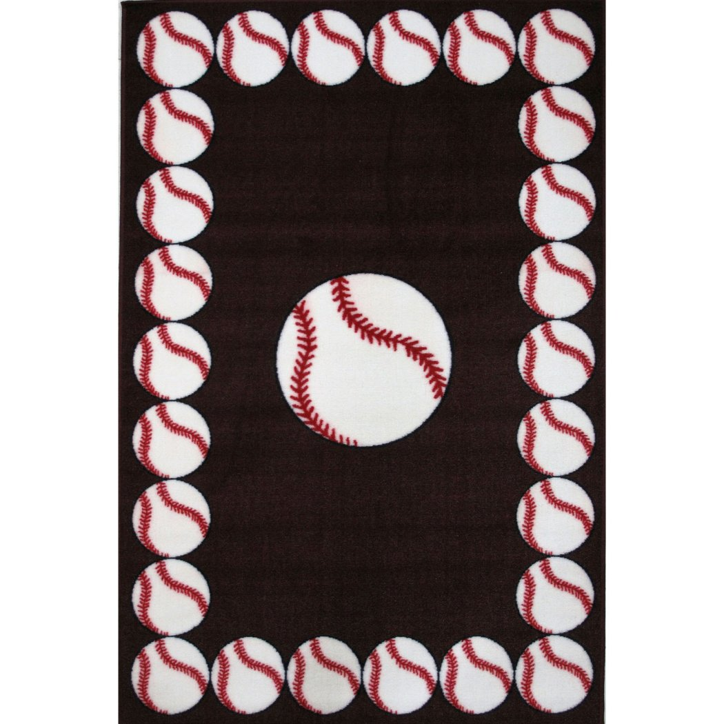 "1'6""x2'4"" Boys Black White Red Baseballs Printed Accent Rug Indoor Graphical Pattern Living Room Rectangle Carpet Sports Themed Vibrant Color Soft - Diamond Home USA"