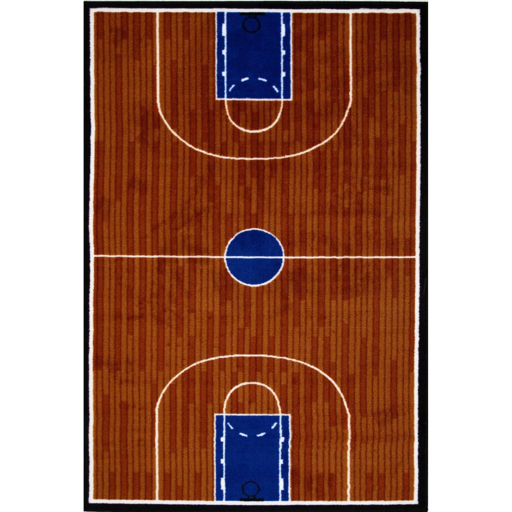 "3'3""x4'8"" Boys Chocolate Brown Navy Blue Basketball Court Printed Accent Rug Indoor Graphical Pattern Living Room Rectangle Carpet Sports Themed - Diamond Home USA"