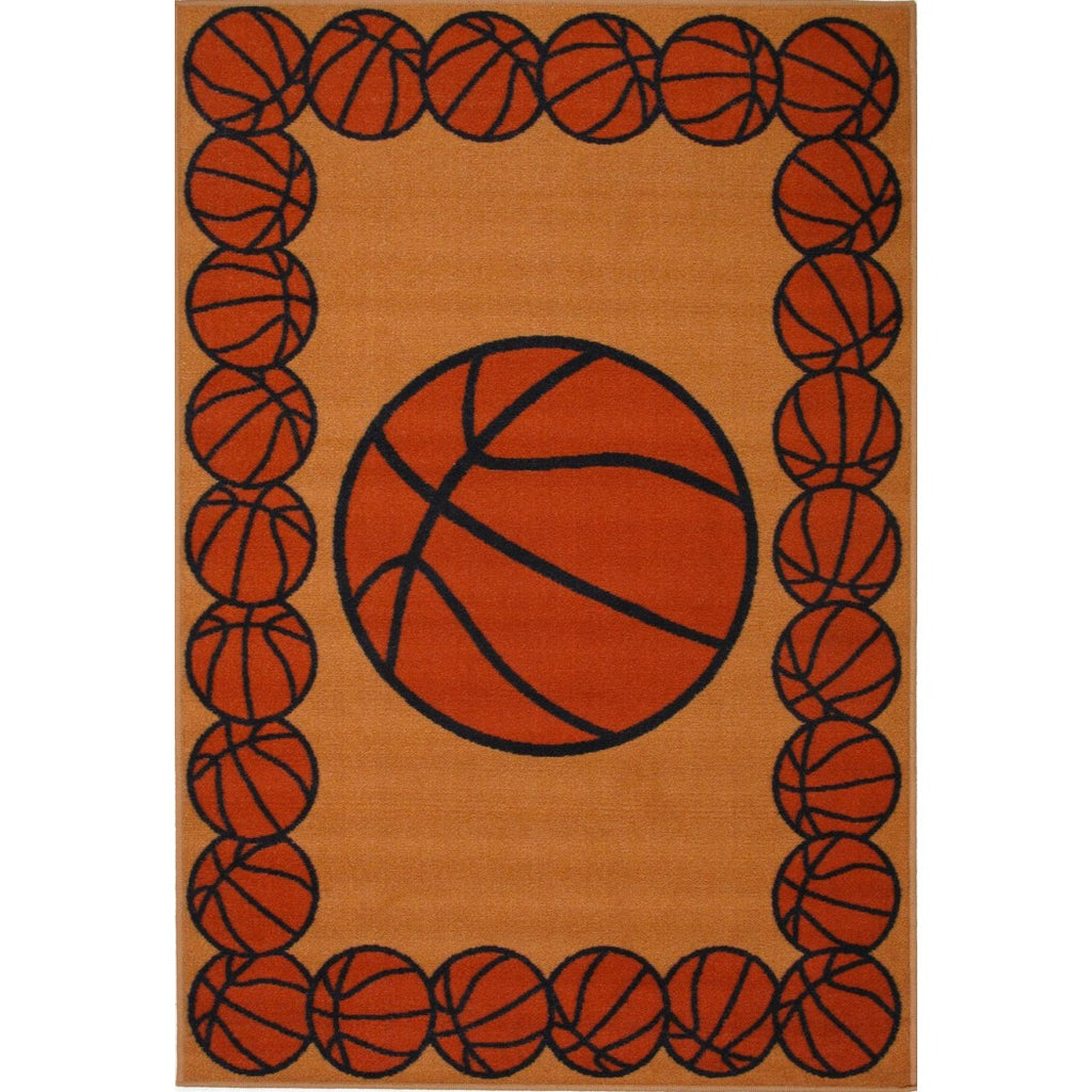 "1'6""x2'4"" Boys Orange Brown Basketball Printed Accent Rug Indoor Graphical Pattern Living Room Rectangle Carpet Sports Themed Vibrant Color Soft - Diamond Home USA"