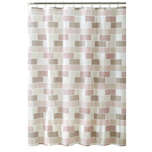 Pink Brown Geometric Pattern Shower Curtain Vinyl Abstract Graphical Themed Detailed Colorful Tile Printed Modern Elegant Design Artistic View All - Diamond Home USA