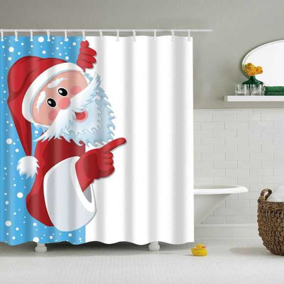 Bathroom Shower Curtains Funny Merry Christmas Waterproof Polyester Blue Graphic Print Casual - Diamond Home USA