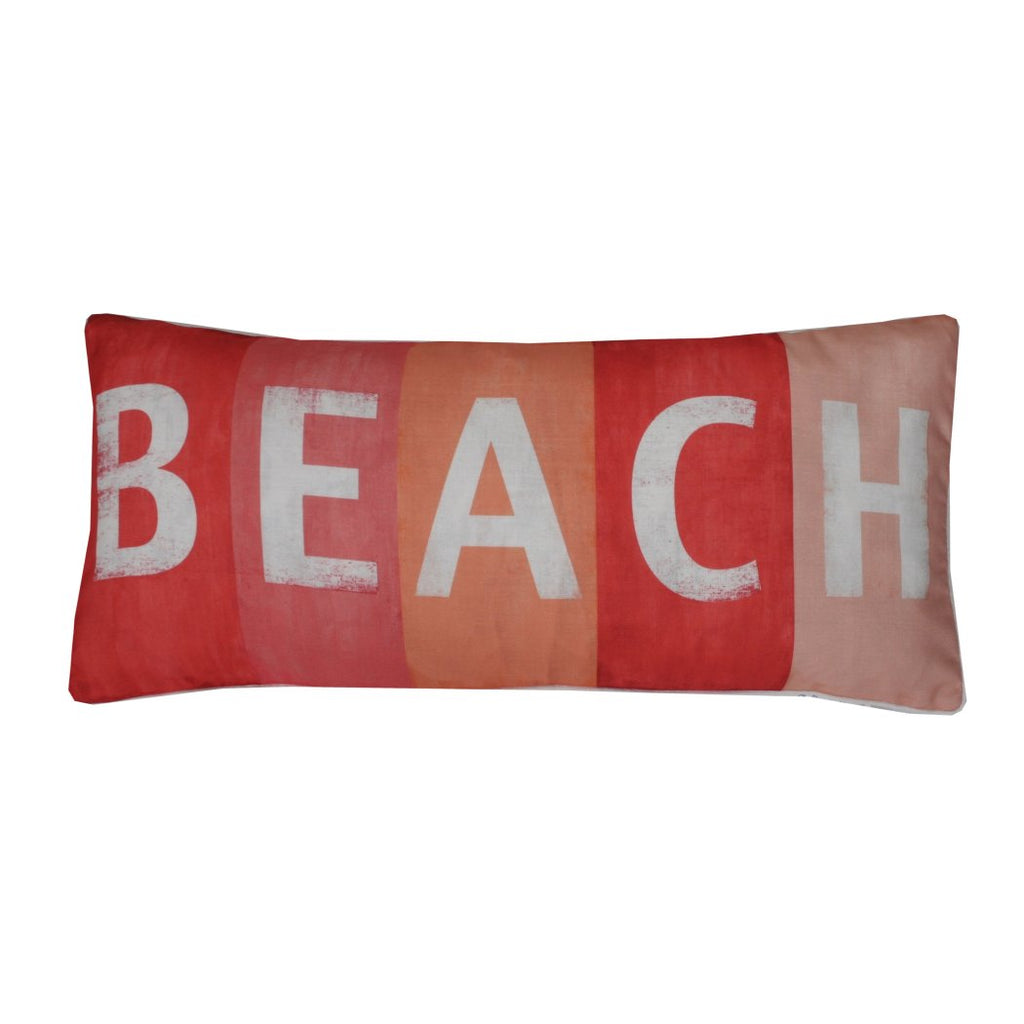 Throw Pillow Decorative Beach Themed Letters Ocean Extra Long Couch Sofa Cushion Rectangle Shaped Beachhouse Summer