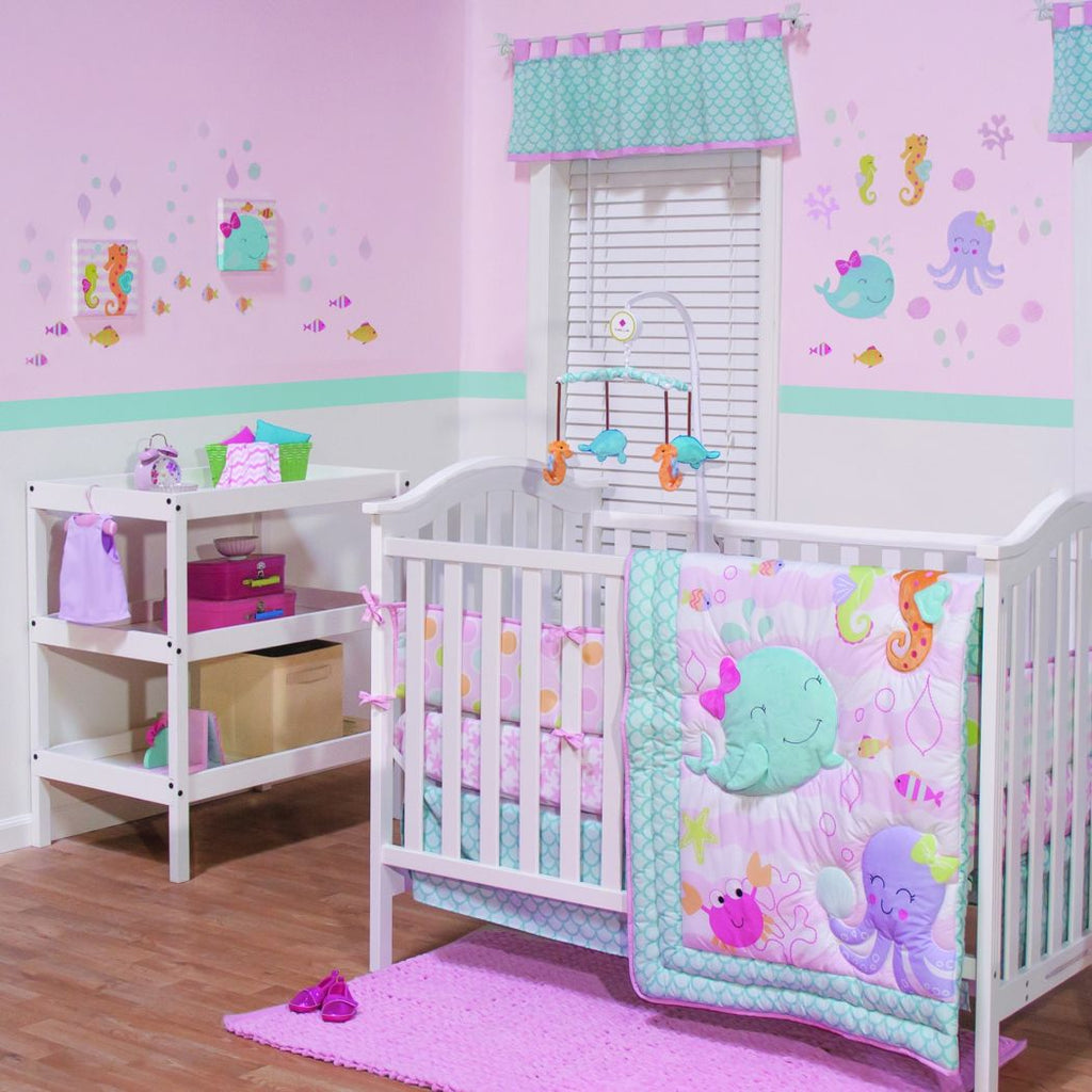 Baby Crib Bedding Set Girls Whale Seahorse Octopus Crabs Fish Cute Underwater Sealife Ocean Creatures Beach Themed Pretty Pink Aqua Blue Green - Diamond Home USA