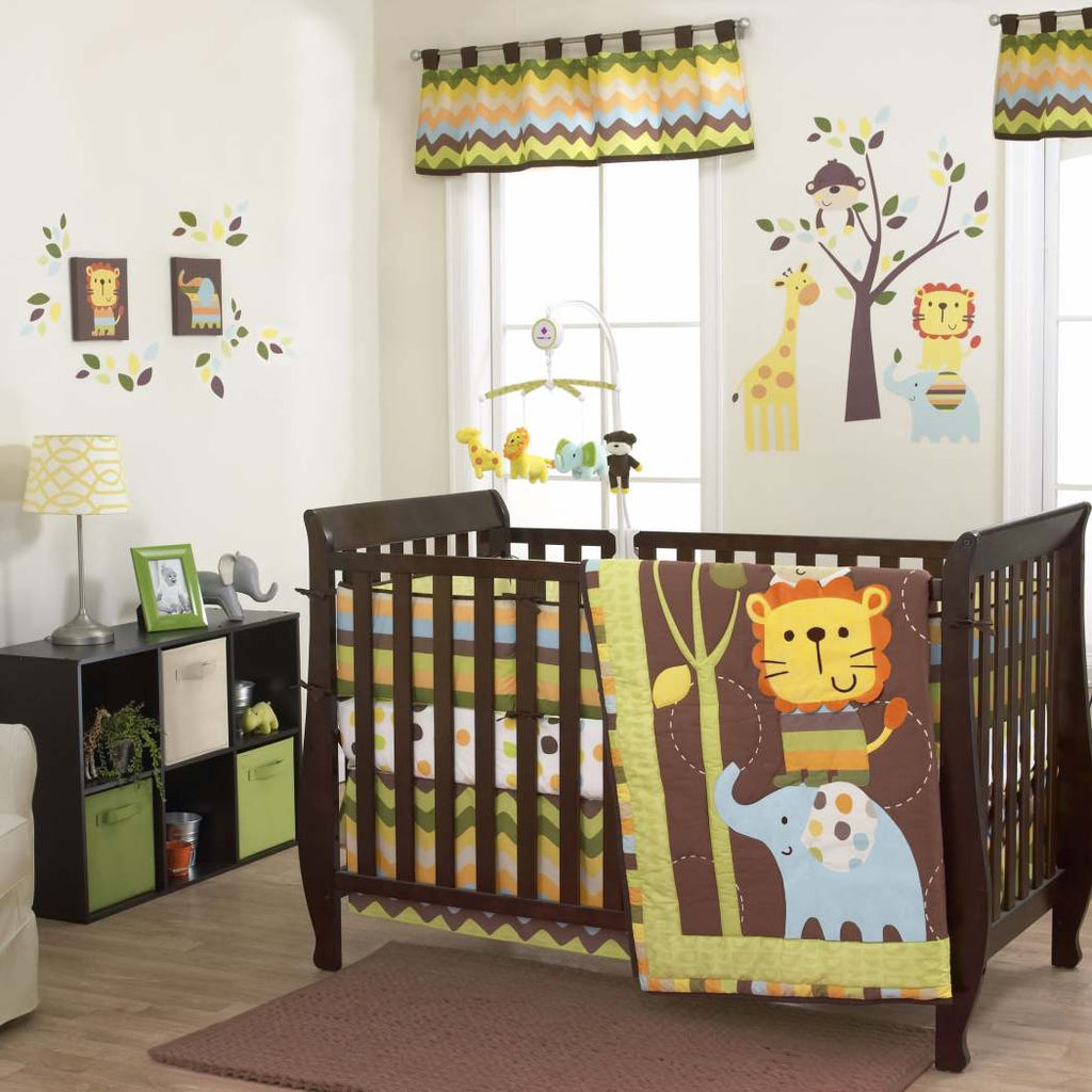 3 piece Crib Bedding Set Jungle Theme Chevron Safari Design Animals It Lion Zebra Monkey Elephant Cute Adorable Unisex Tan Brown Sage Green Lime - Diamond Home USA