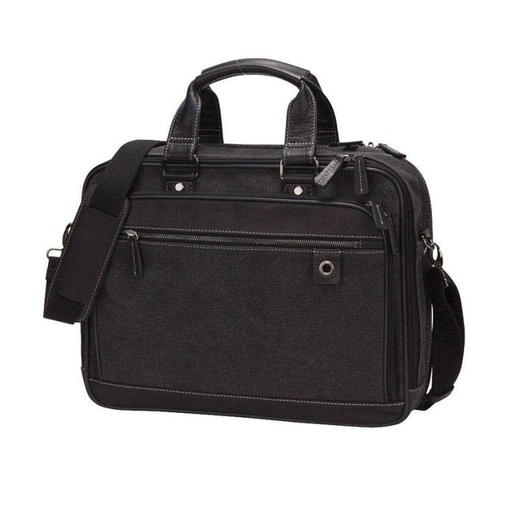 Black Contractor Briefcase Canvas Leather Utility Heavyduty Construction - Diamond Home USA