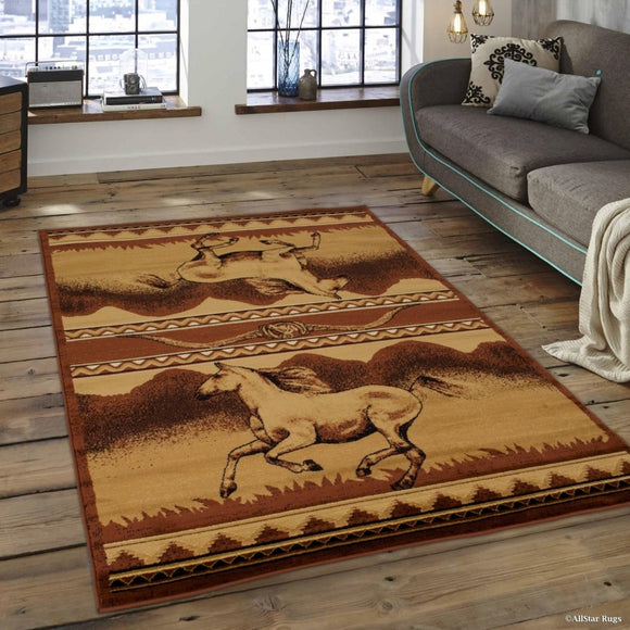 5'2X7'2 Red Beige Southwest Horse Area Rug Rectangle Shaped Indoor Yellow Rustic Cabin Carpet Living Room Lodge Floor Mat Southern Nature Wildlife - Diamond Home USA