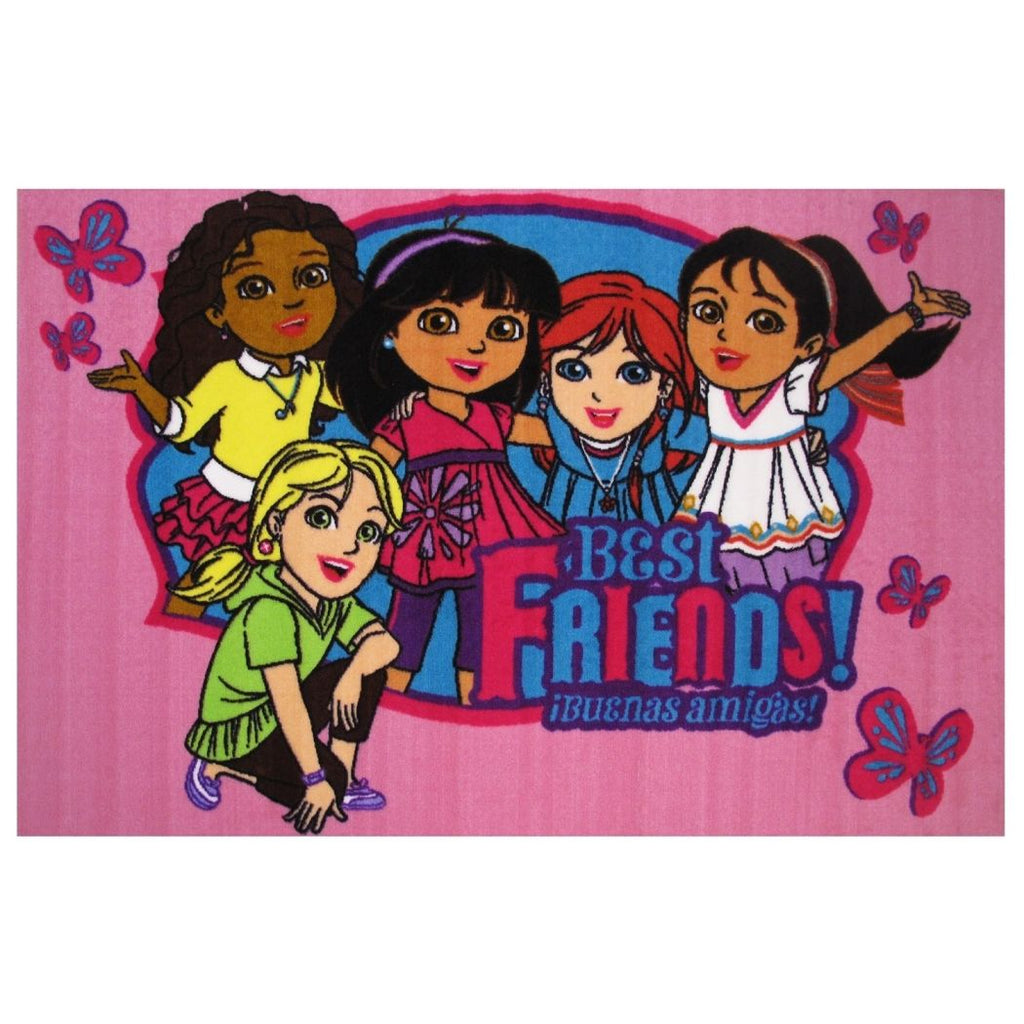 "39""x58"" Girls Pink Dora Explorer Best Friends Printed Area Rug Indoor Outdoor Graphical Pattern Living Room Rectangle Carpet Graphic Art Themed - Diamond Home USA"