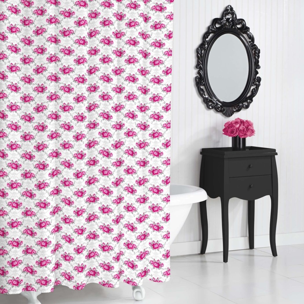 Pink White Graphical Nature Themed Shower Curtain Polyester Lightweight Detailed Flower Color Block Printed Abstract Floral Pattern Classic Elegant - Diamond Home USA