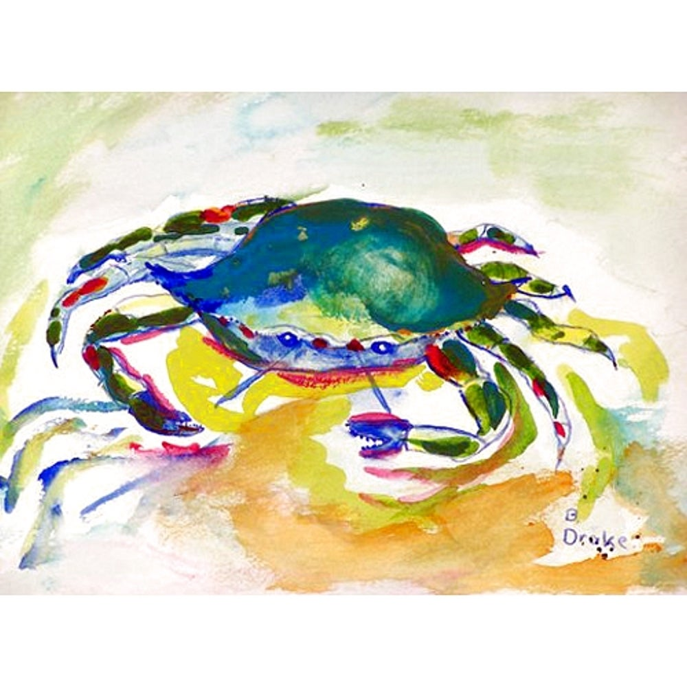 Multicolor Polyester Green Crab Placemats (Pack of 4) Multi Color Nautical Coastal Rectangle - Diamond Home USA