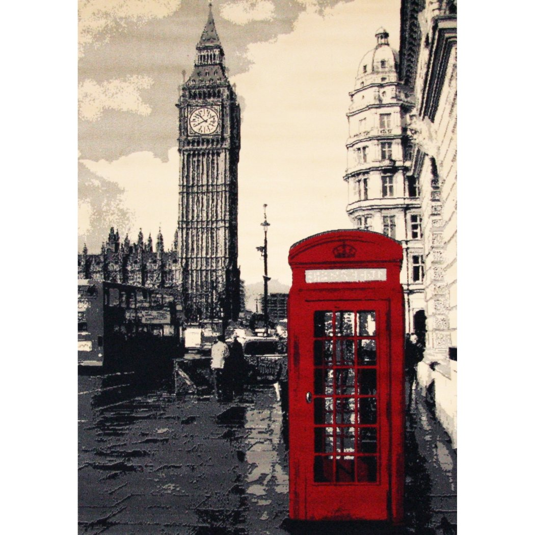 "3'9""x5'6"" Grey Red Payphone Big Ben Printed Area Rug Indoor Outdoor Graphical Pattern Living Room Rectangle Carpet Graphic Art Themed Vibrant Color - Diamond Home USA"
