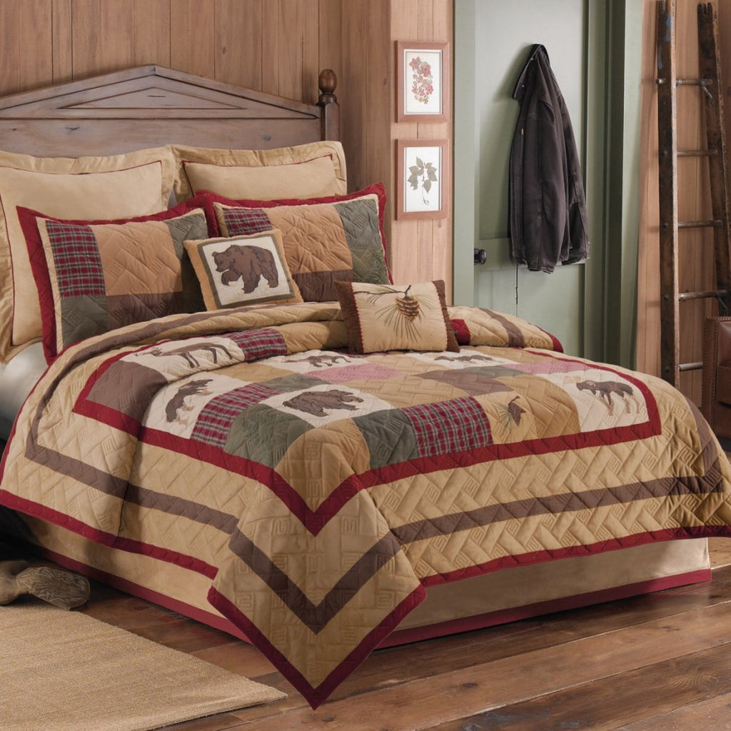 Quilt Lodge Wildlife Plaid Patchwork Themed Bedding Animal Moose Deer Bear Cabin Cottage Nature Country