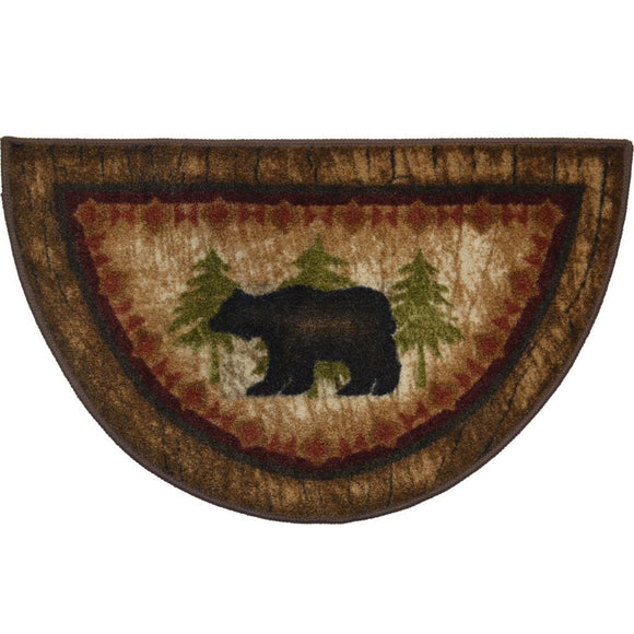Wildlife Bear Rustic Brown Half Circle Nylon Non Slip (2'7 x 1'7) Lodge Cabin Camping Mat Great Kitchen - Diamond Home USA
