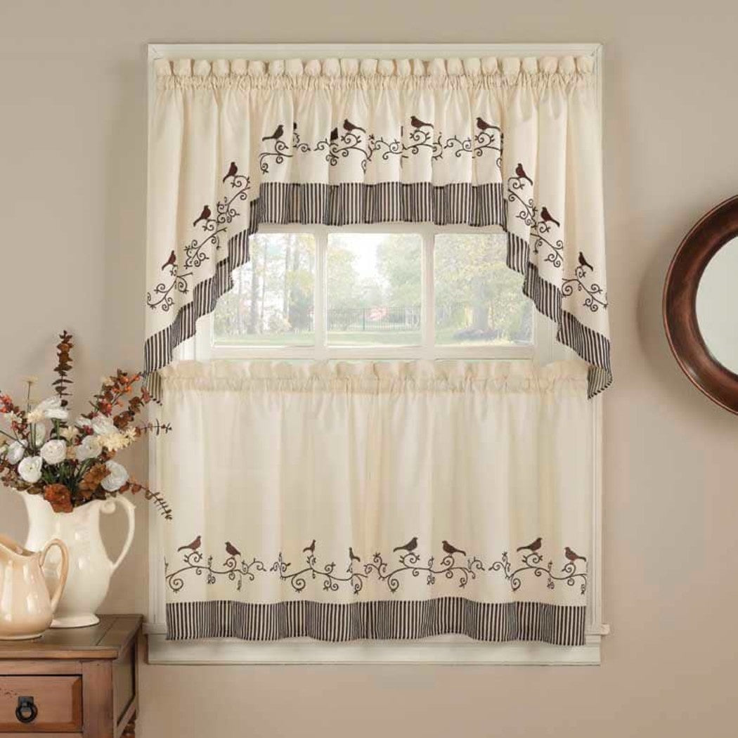 Curtain Tier Swag Set Fishtail Birds Pattern Animal Chirp Twitter Tweet Whistle Embroidered Country