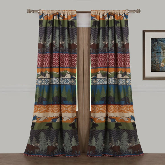 84 Inch Color Black Bear Moose Lodge Curtain Panel Pair Set Wildlife Pattern Hunting Themed Log Cabin Cottage Lodge Outdoors Nature Mountains Pine - Diamond Home USA
