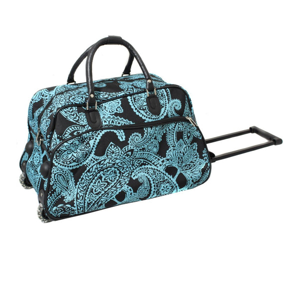 Girls Paisley Carry Duffel Bag Floral Themed Flower Luggage