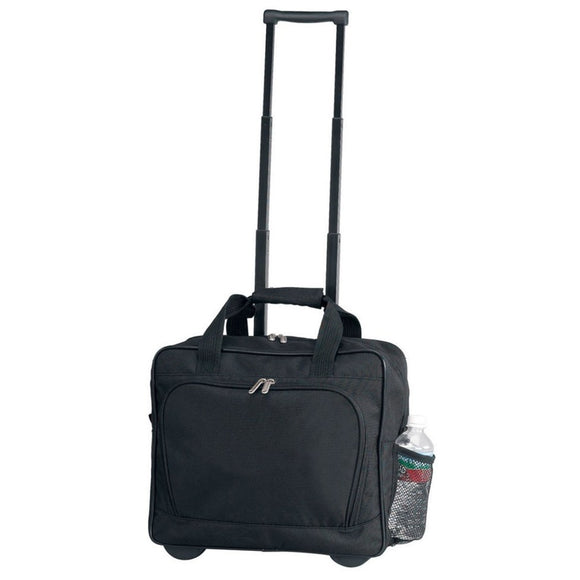 Black Lightweight Wheeled Briefcase Wheeling Solid Fabric Polyester - Diamond Home USA
