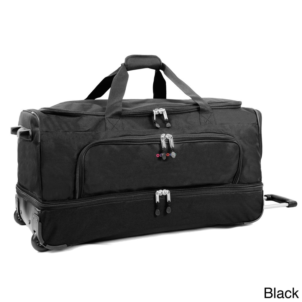 Drop Bottom Softsided Rolling Duffel Bag Nylon Polyester