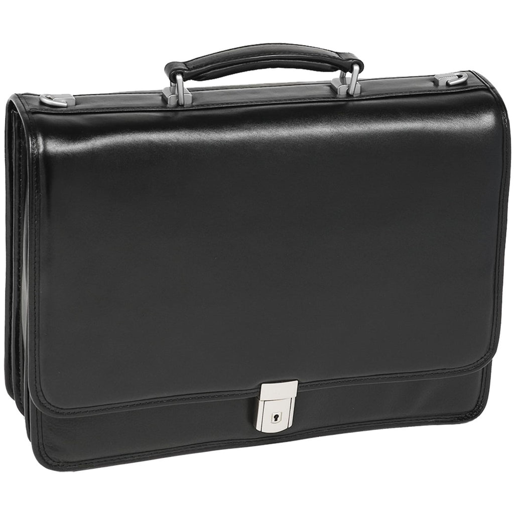 Flap over Locking Compartment Lawyers Briefcase Pure Leather Black Charcoal Color Amazing Design Solid Pattern Suitcase Attache Latest Locking - Diamond Home USA