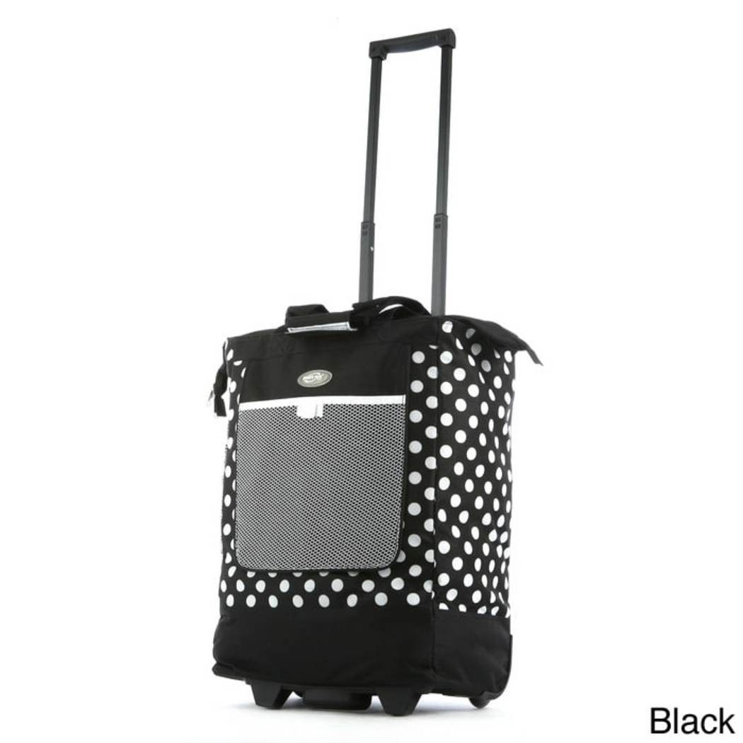 Polka Dot Rolling Tote Bag Retractable Handle Front Mesh Pocke Polyester