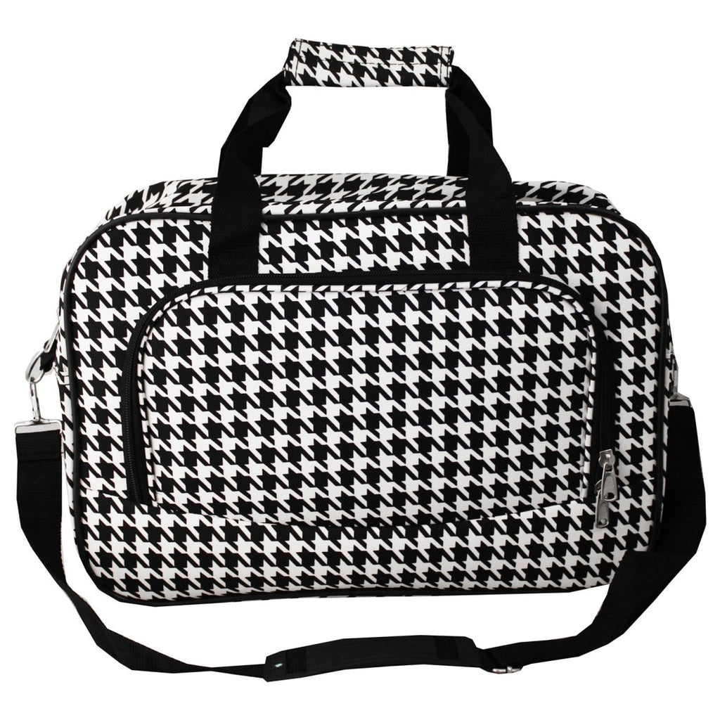 Trim Lightweight Duffel Bag Houndstooth Pattern Polyester Foldable