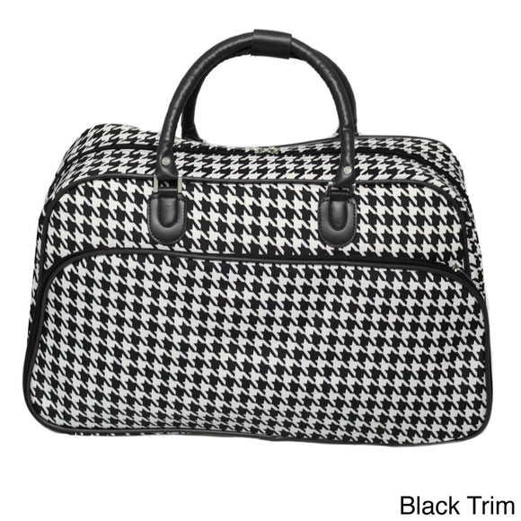 Trim Lightweight Duffel Bag Houndstooth Polyester Foldable