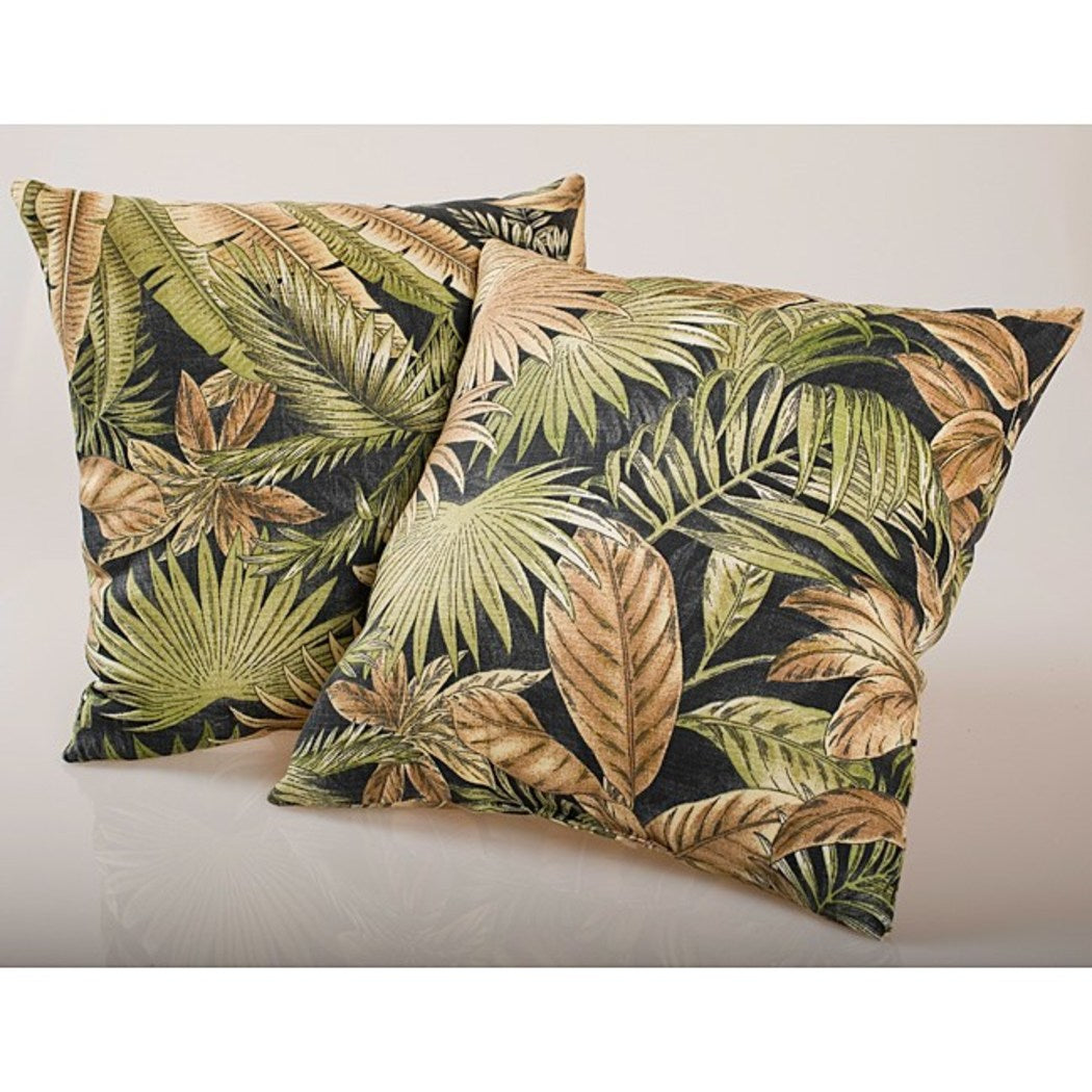 Set 2 18 x 18 Black Green Tropical Leaves Throw Pillows Set Square Shaped Botanical Plants Cushion Tropics Brown Beige Indoor/Outdoor Polyester - Diamond Home USA
