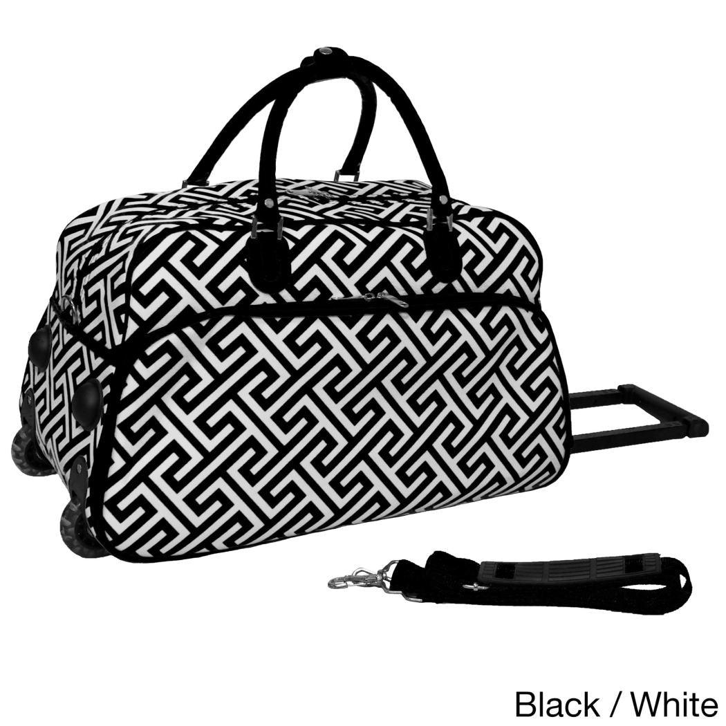 Geometric Pattern Lightweight Rolling Duffle Bag Carry Duffle Bag Polyester Compartment Rolling Foldable Softsided Bright White
