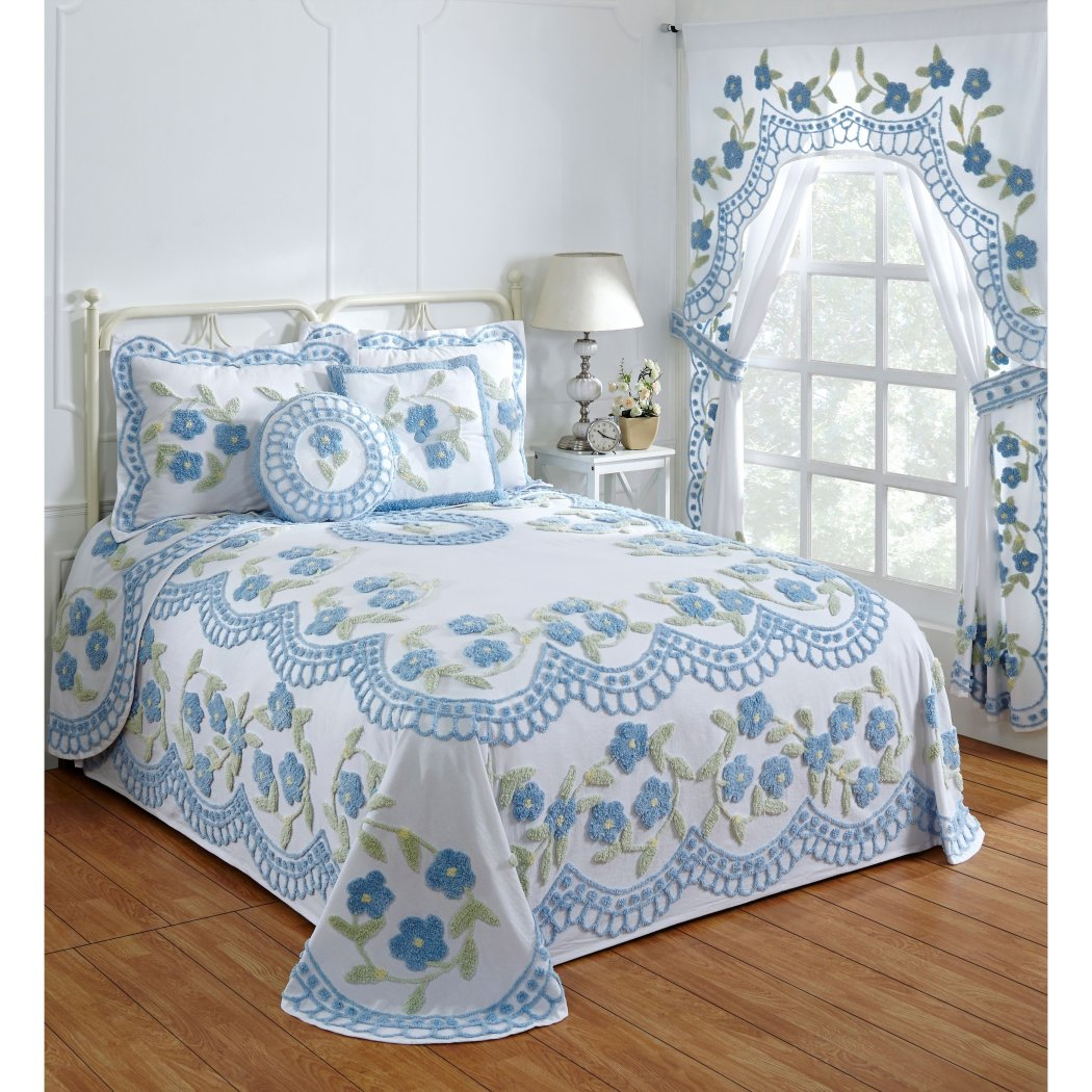 Oversized Chenille Bedspread Floral Pattern Wide Drapes Over Edge Drops Down Oversize Floor Extra Long Bedding Shabby Chic Bell Ers