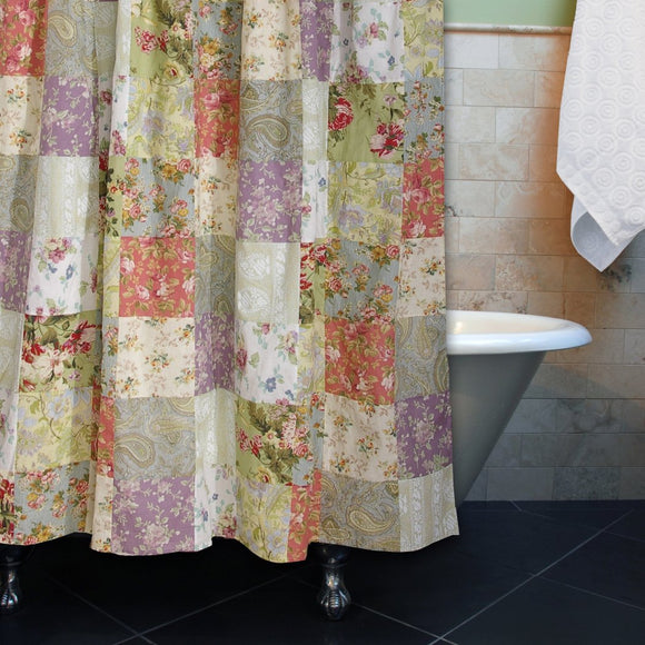 Green Red Violet Patchwork Pattern Shower Curtain Elegant Check Floral Printed Cotton Colorful Flowers Printed - Diamond Home USA