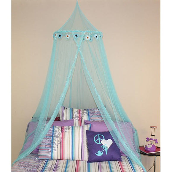 Childrens Girls Turquoise Pretty Princess Floral Teal Blue Canopy Twin/Full Flower Bed Frame Draperies Over Hanging Floor Canopies Hoop Drapes - Diamond Home USA