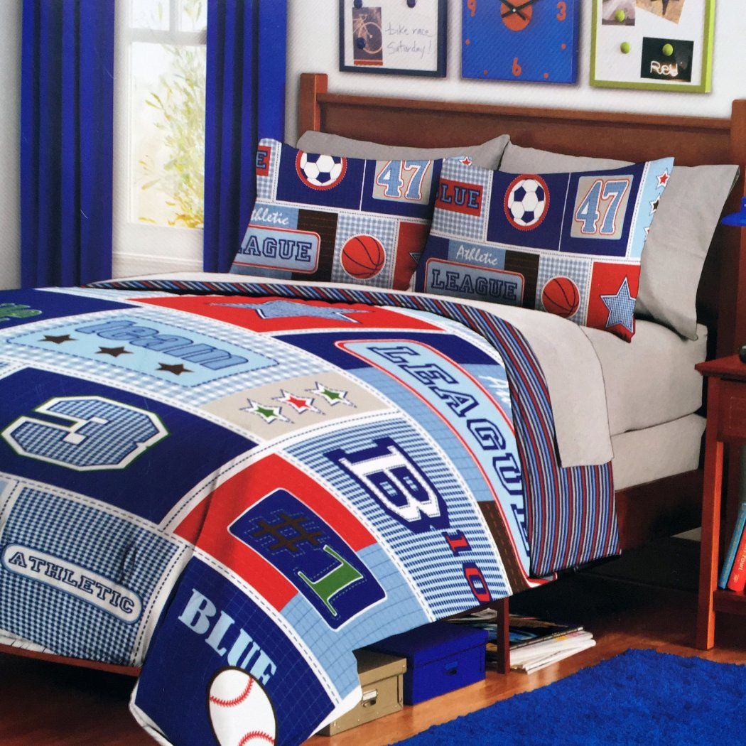 Kids Sports Themed Comforter Twin Set All Sports Bedding Boys Soccer Baseball Basketball Prints Red Blue Stripes Athletic Decor - Diamond Home USA