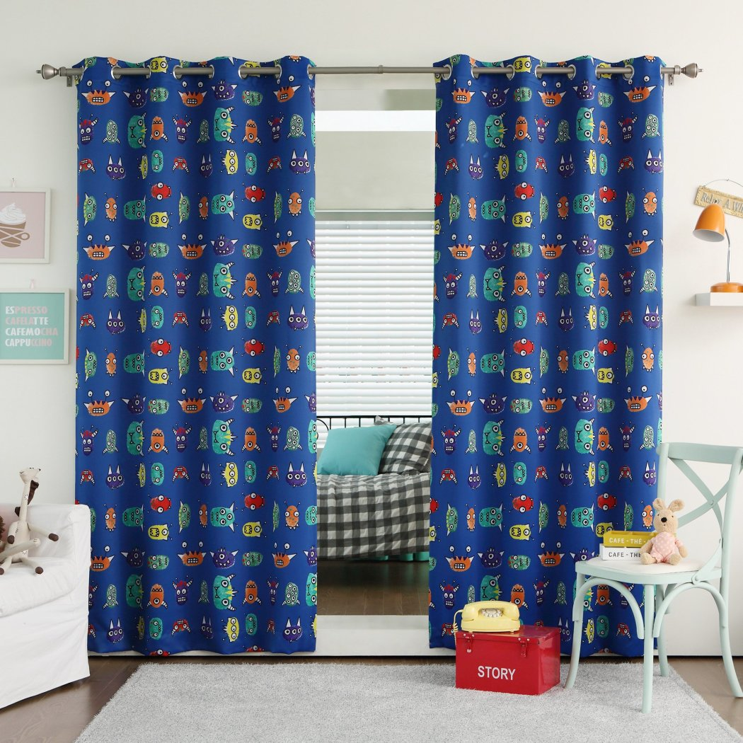 Kids Monster Royal Window Curtain Set Graphic Pattern Panels Pair Colour Teen Alien Nursery Themed Polyester