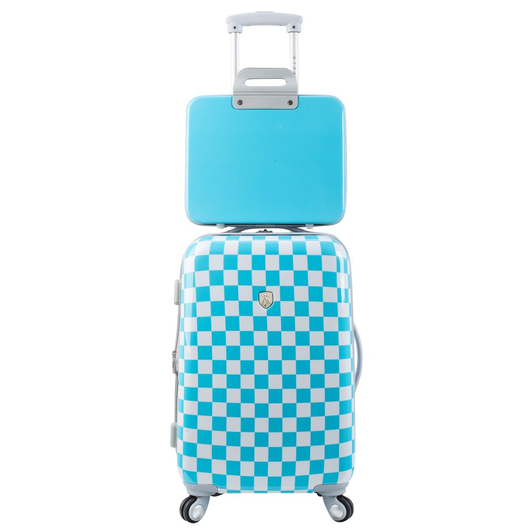 Girls Checkered Luggage Set Checked Pattern Spinner Carry Hardtop Hardside Hard Shell Casing Madras Suitcase Lightweight Rolling