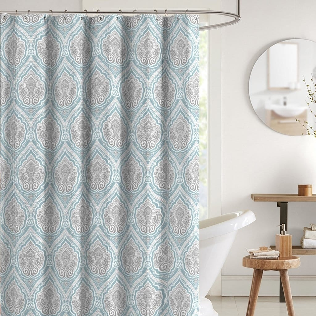 "Bright Aqua Grey White Fabric Shower Curtain 70"" x 72"" inches Blue Graphic Print Victorian Polyester - Diamond Home USA"