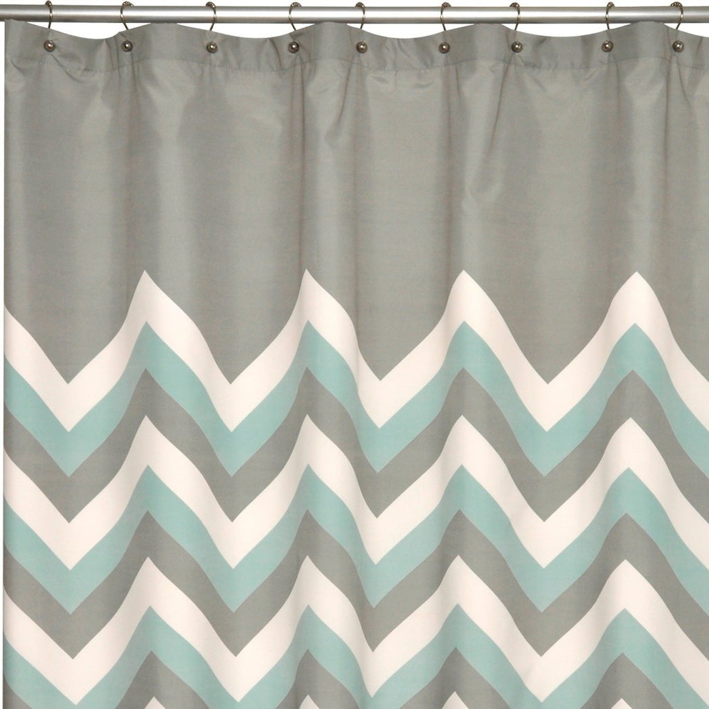 Grey Cream Geometric Pattern Shower Curtain Polyester Abstract Graphical Themed Detailed Colorful Chevron Printed Modern Elegant Design Artistic View - Diamond Home USA