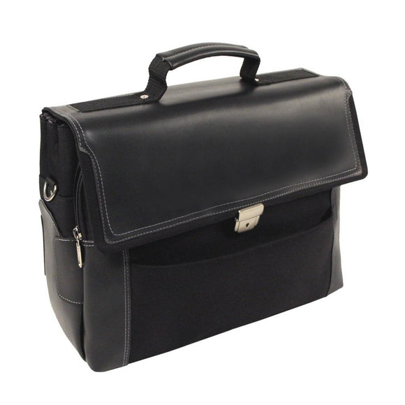 Black Contractor Briefcase Nylon Business Solid Flapover Design Zippered - Diamond Home USA