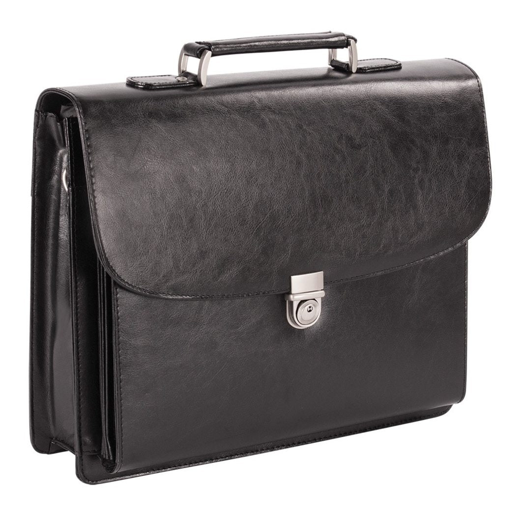 Black Leather Compartment Lawyers Briefcase Black Charcoal Color Amazing Leather Laptop Briefcase Latest Design Solid Pattern Adjustable Strap Laptop - Diamond Home USA