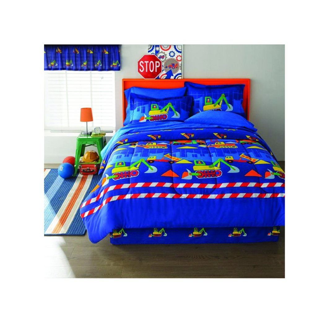 Kids Construction Comforter Sheets Set Playful Fun Builders Pattern Featuirng Dump Truck Tractors Excavator Friendly Printing Bedding Bed