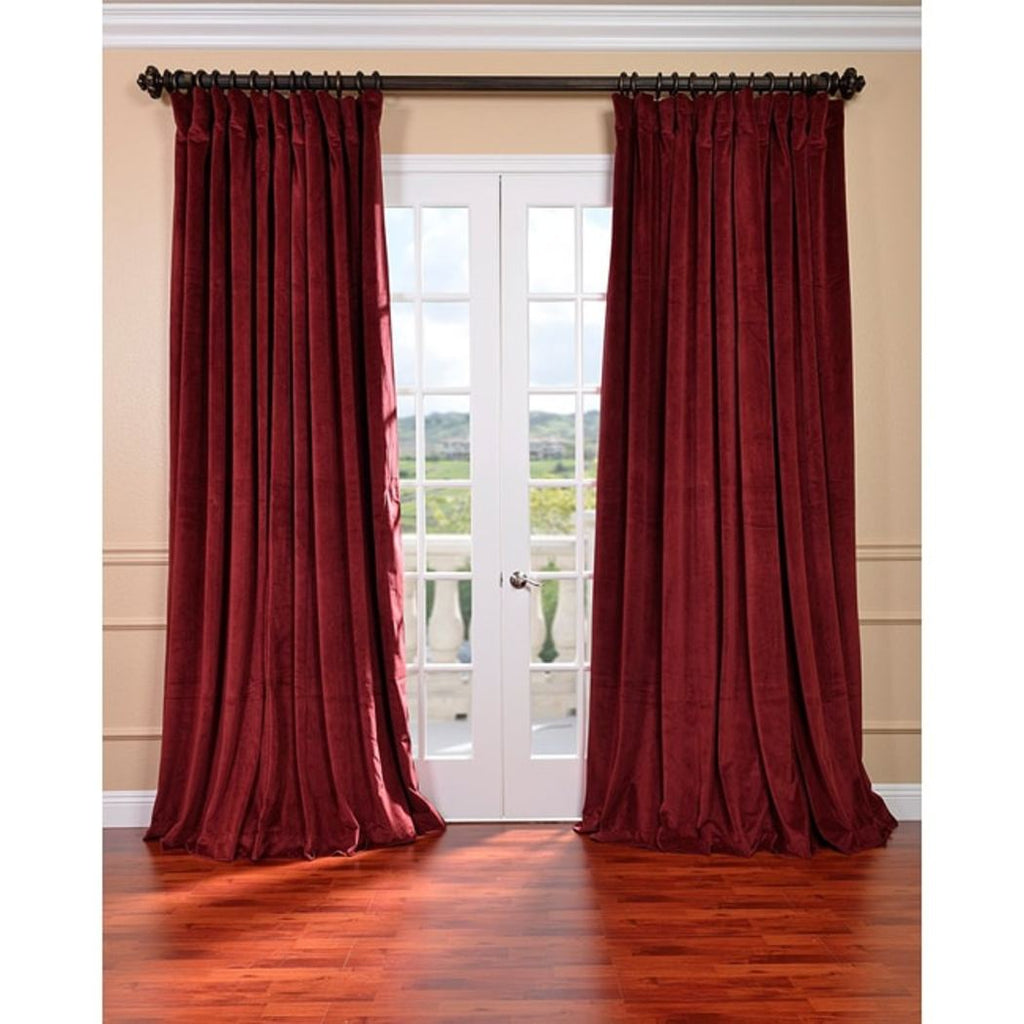 Girls Velvet Blackout Extra Wide Curtain Single Panel red Allover Pattern Window Drapes Kids Themed Energy Efficient Rod Pocket